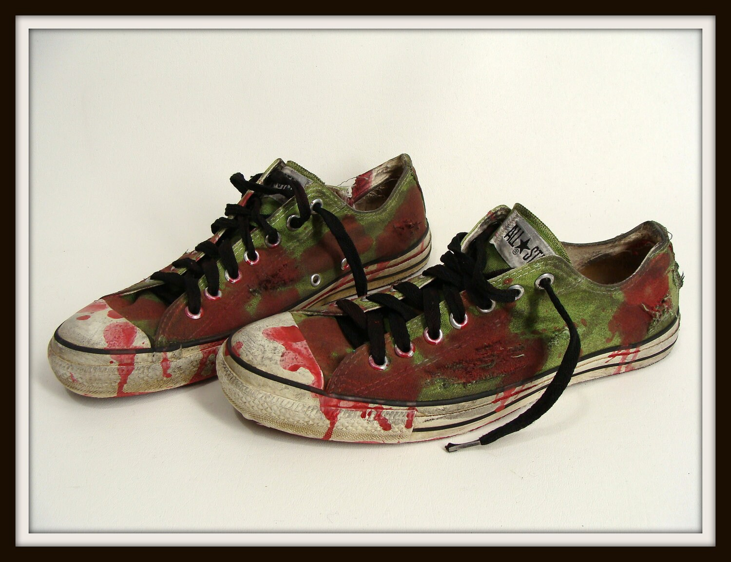 Bloody Green Zombie Shoes Vintage Chucks Converse All Stars