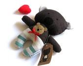 """Stuffed bear soft toy stuffed toy teddy bear rag doll handmade toy rag doll toy bear plushie stuffed animal green chocolate brown 25 cm 9,8"""""""