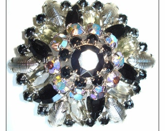 Vintage 1940s Brooch Big Bold 4-Tiered Prongset  Rhinestone Sparkling Garden Party Cocktail Dress Rockabilly Mad Men Dress Wiggle