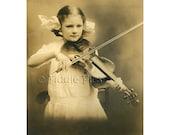 Original Vintage Photograph | Young Girl Playing VIOLIN | Huge Hair Bow | Pottsville, PA