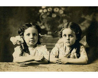 Angelic Girls Sisters wearing Huge Hair bows | Black and White 4 x 6 Photo Reprint