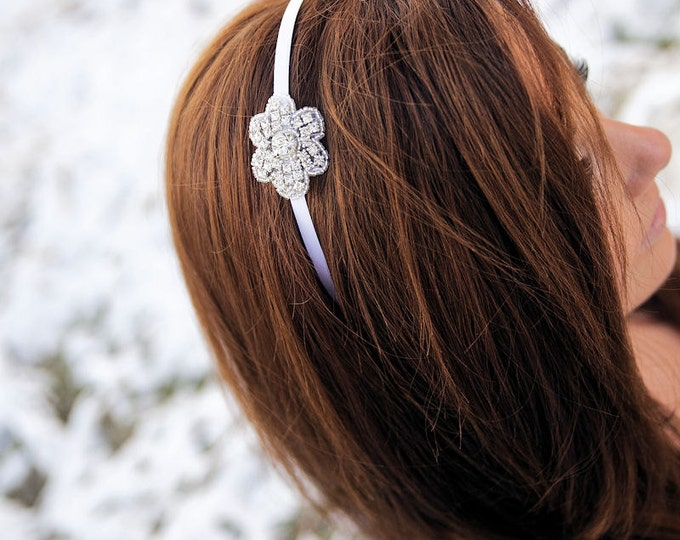 Rhinestone Bridesmaid Headband - Rhinestone Flower Headband for Bridal Party