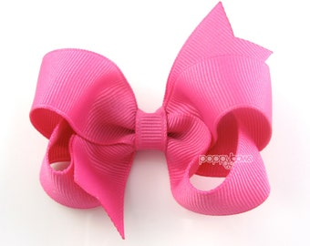 Raspberry Rose Pink Hair Bow - Baby Toddler Girl - Solid Color 3 Inch Boutique Bow on Alligator Clip Barrette