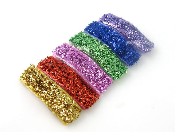 Glitter Hair Clips -  Mini Snap Clips - Newborn to Toddler Fine Hair Barrettes - Set of 6 Gold Red Pink Apple Royal Purple
