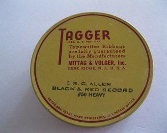 Vintage Tagger Typewriter Ribbon Metal Tin Advertising Made in USA