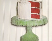 Red Velvet Kitchen Cake Sign Southern Cake on Cake Plate Wall Art  Kitch Sign