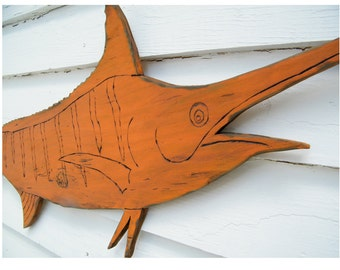 Marlin Fish Sign Wooden Swordfish Fishing Beach Decor Ocean Fishing Gift for Men