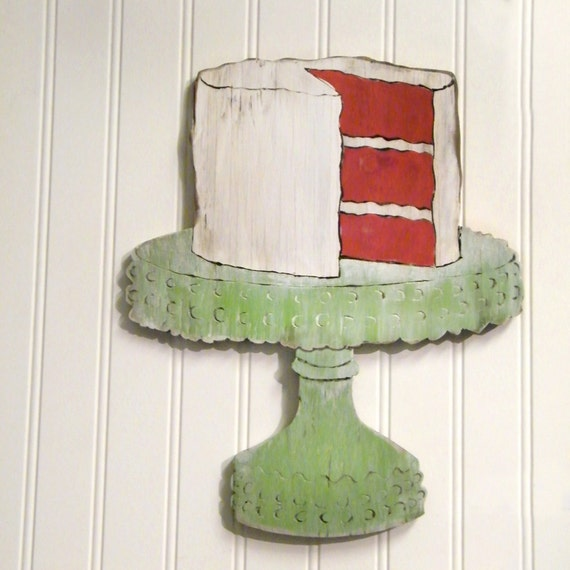 Red Velvet Sign Kitchen Cake Sign Southern Cake on Cake Plate Wall Art  Kitch Sign