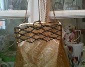 Vintage 1930's - 40s transparent gold tint,  Plastic Handbag w marcasites