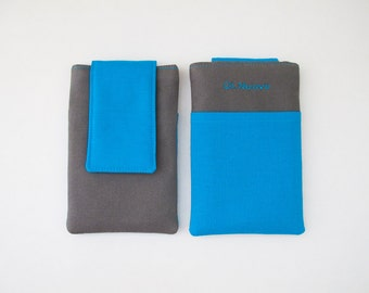 iPhone 4 Case - Neon Blue iPhone Sleeve - Gray Gadget Case by Di Nuovo