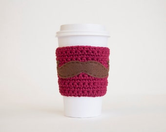Red Mustache Cozy - Burgundy Cup Cozy - Brown Mustache Coffee Sleeve