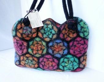 Felted Wool Handbag Stained Glass Inspired Original Design Crochet  Fiber Art Bag