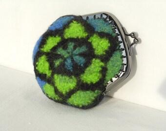 Stained Glass Inspired Original design Crochet fiber art  felted Coin Purse