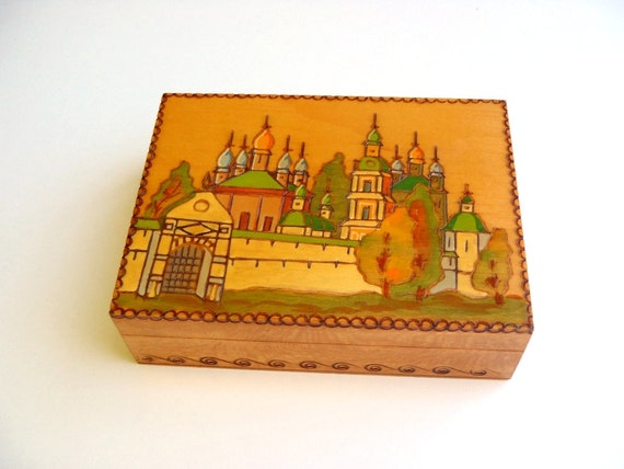 Vintage Wooden Box Russian Folk Art Pyrography with Hand Painted Church Scene Trinket Box Made in USSR
