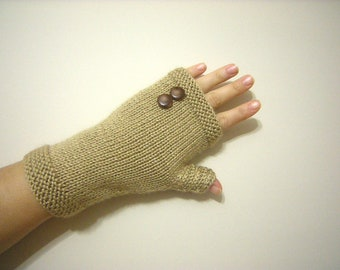 SPRING SALE Beige-Light Brown Arm Warmers Knit Fingerless Gloves Women