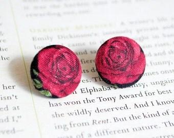 Rockabilly Earrings | Red Rose Button Earrings | Pin Up