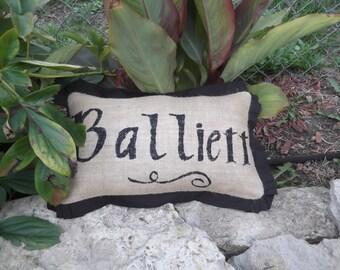 """14""""x22""""  Burlap Name Pillow with trim"""
