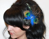 Black Irredescent Rooster Feather, Royal blue and Natural peacock Feather Boutique Hair Clip Fascinator Photp Prop