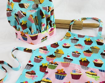 Retro Teal Cupcake Child Apron and Adjustable Chef Hat with pink pocket