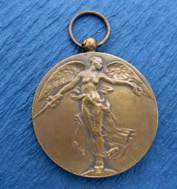 Antique Belgian Angel Of Victory Art Medal Pendant Jewelry