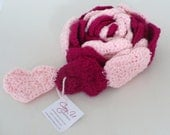Love You Heart Scarf in Pink and Fuchsia
