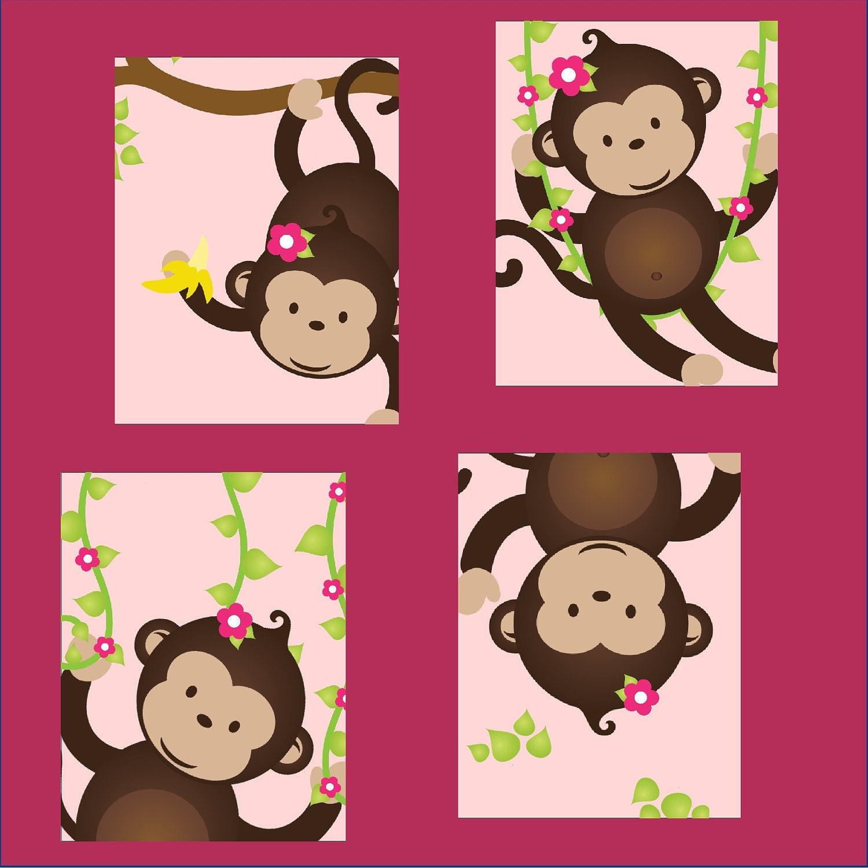Monkey nursery art monkey nursery decor monkey art for zoom amipublicfo Images