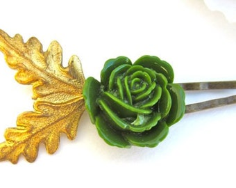 Woodland Hairpins Green Hair ClipsGold Leaves Rustic Wedding Handmade Accessories