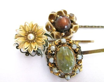 Jeweled Hair Accessories Hairpins Clips Vintage Jewelry Flowers