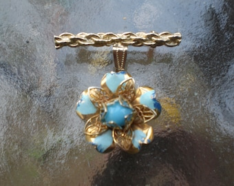 Vintage Enamel Blue Flower Bar Dangle Pin Brooch Handmade Gold Tone 1960s Altered Art Upcycled