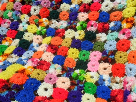 """RESERVED Vintage Afghan / Throw / Blanket Crocheted Circles Multi Colored 53"""" X 43"""" Retro Art Deco 1970s"""