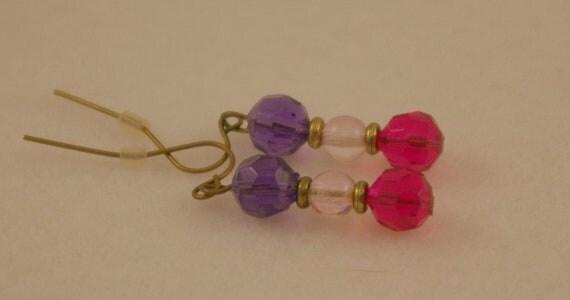 SALE.  Purple and Hot Pink Earrings.  Fun.  Funky.
