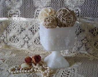 Vintage Milk Glass Square candy Dish with Pedestal, trinket dish, vase