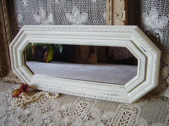 Shabby Cottage Mirror, octangle, creamy white, distressed, chippy