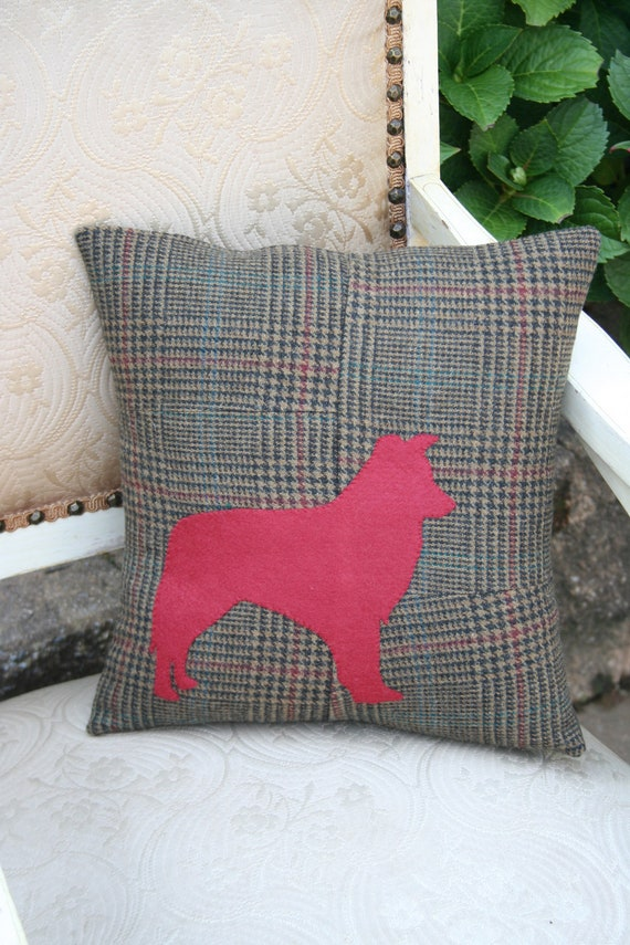 Reserved for Jo - Border Collie Silhouette on Tweed PILLOW COVER - 14 Inch