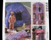 11.5 inch Fashion Doll Accessory Pattern McCalls 2225 Camping Tent, Sleeping Bag, Organizer, Totes, Doll Toys, 1999