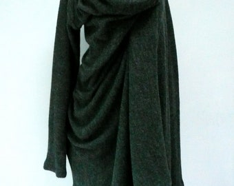 MARIA SEVERYNA Wool Knit Asymmetric Sweater Wrap Duster in Charcoal Grey - Available in many colors