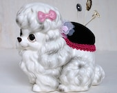 Pretty Poodle Pin Cushion, Vintage and Upcycled