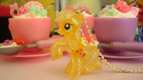 SALE My Little Pony Apple Jack Limitied Glittery Edition Assembled Kawaii Necklace Light Orange or cell phone charm you choose