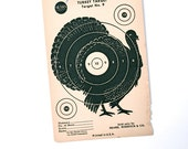 Thanksgiving Turkey Decor: Vintage Original 1950s Turkey Paper Shooting Target