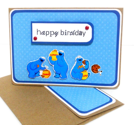 Cookie Monster Birthday Card with Matching Embellished Envelope