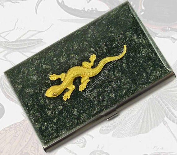 Neo Victorian Lizard Business Card Case Salamander Metal Wallet Hand Painted Enamel in Black Metallic Custom Colors and Personalized Options