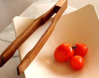Kitchen utensils, Gourmet quality wooden salad tongs ,  pasta servers , bacon tongs ,   handmade out of White Oak and Cherry wood