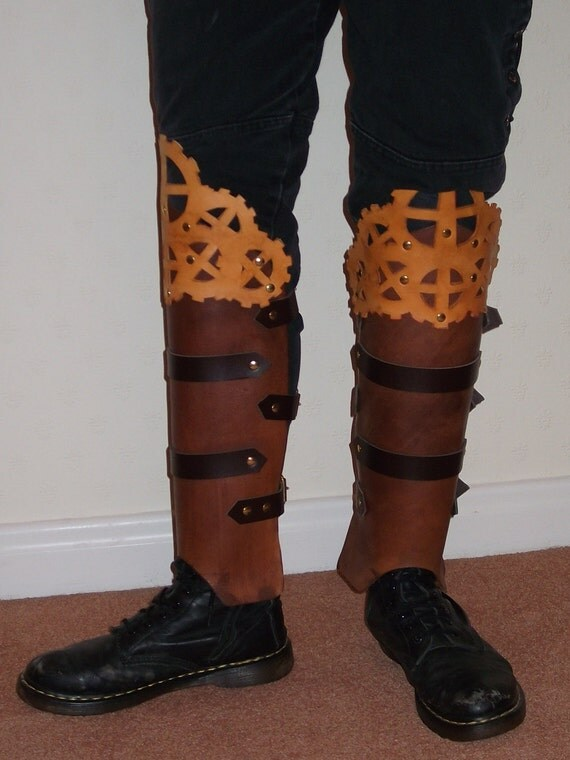 """SALE Steampunk  """"Crown of Gears"""" Greaves/Leg Armour in brown/tan/mahogany by Clockwork Firebird Designs"""