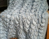 Hand Knit Blue Seashell Baby Blanket / Afghan
