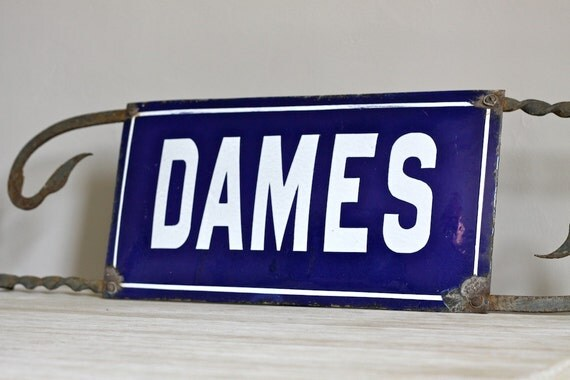 Unique Vintage French Enamel Street Sign WC Sign Loft Living Large