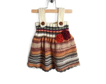 Knitted Baby Girl Dress - Multicolor, 9 - 12 months
