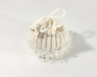 Knitted Baby Hat - Cream White, 3 - 9 months