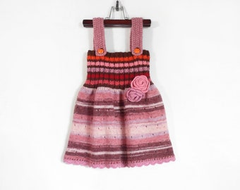 Knitted Girl Dress - Red Tones, 3 - 4 years