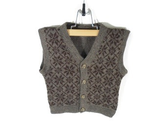 Knitted Baby Vest - Brown, 9-12 months