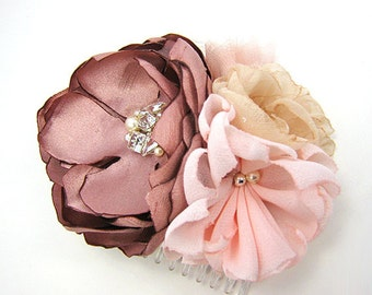 Blush Pink Champagne Hair Comb - Adorned with Swarovski Crystals, Pearls for Wedding Bride, Bridesmaid, Formal Occasion